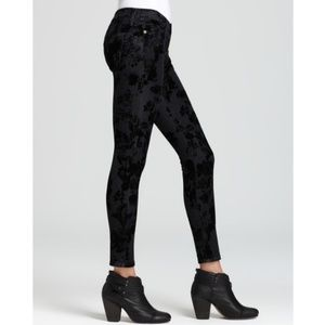 current/elliot skinny black velvet floral jean 28